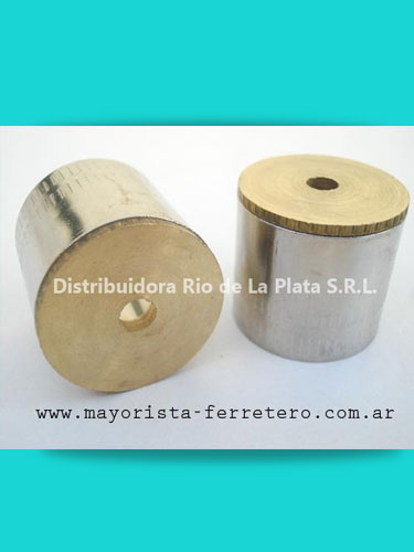 Soporte tubular bronce pulido y platil